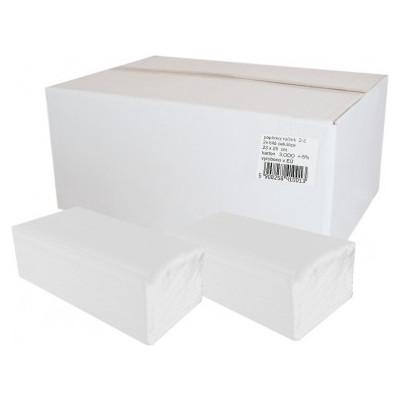 Ručníky papírové skládané 2-vrstvé bílá celulóza, 3000ks