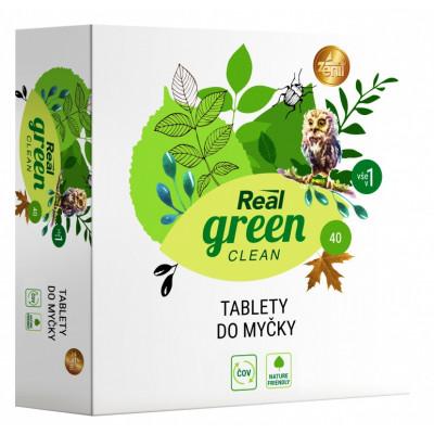 Real Green Clean bezfosfátové tablety do myčky 40 ks
